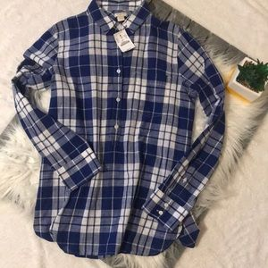 J. Crew blue/white plaid popover